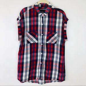 Rails Britt Plaid Patriotic Button Front Shirt Med